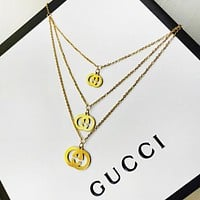 GUCCI Women Fashion New Letter Necklace And Earring Two Piece Suit Accessories Golden