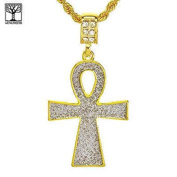 "Jewelry Kay style Men's Hip Hop Iced Out Glitter Ankh Cross Pendant & 22"" Rope Chain Set NA 0843 G"