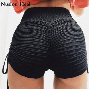 2018 Women Lacing Sexy Short Compression Yoga Shorts Quick Dry Running Shorts Women Patchwork Fitness Breathable Sports Shorts