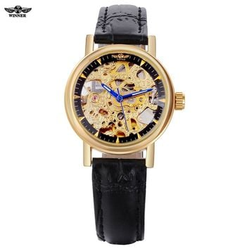 Watch women  luxury brand skeleton automatic mechanical wristwatches artificial leather Round