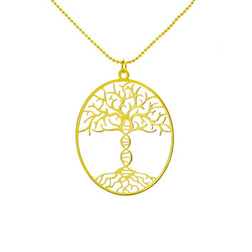 Tree of life with DNA trunk necklace - 24 Karat gold plated necklace
