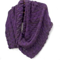 Knitted purple brown infinity scarf, knit colorful cowl shawl, women men hooded circle scarf, knitting  hoodies wrap accessories, cozy warm