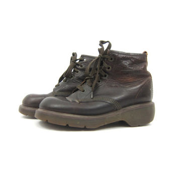 Brown Doc Martens Shoes Low Top CHUNKY Leather Grunge Shoes 90s Hipster Dr Martens Made in England Ankle Boots Oxfords Women's 8