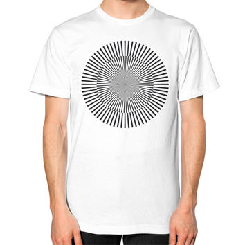 Circle with kinetic art Unisex T-Shirt (on man)