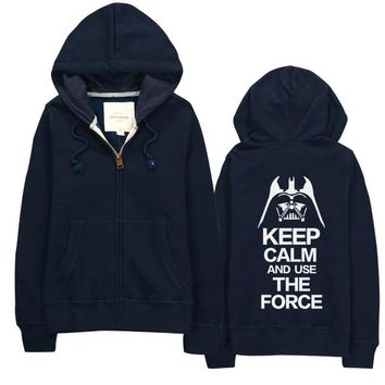 """Keep Calm and Use The Force"" Sweatshirt Cotton Spandex Hoodies"