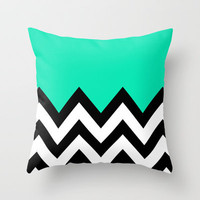 TEAL COLORBLOCK CHEVRON Throw Pillow by natalie sales