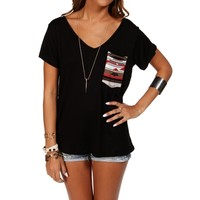 Black Short Sleeve Tribal Top