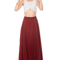 Ruby Pleated Asymmetrical Maxi Skirt