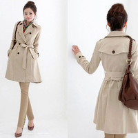 Fashion Women's Slim Fit Trench Double-breasted Coat Cotton Jacket Outwear New