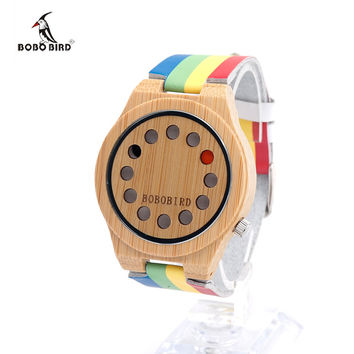 Women Japan quartz movement 2035 Wooden Watches Men Natural Bamboo Wood Watches With Genuine Cowhide Leather Idea Gifts