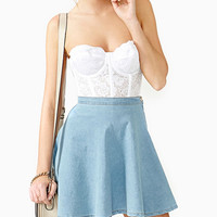 Light Blue Hip Pleated Mini Skirt