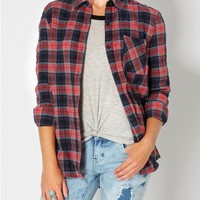 Coral Tartan Plaid Button Down