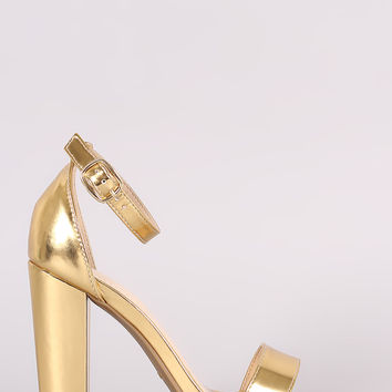 Bamboo Patent One Band Ankle Strap Chunky Heel