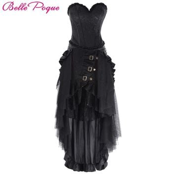 Belle Poque 2017 New Women Retro Pleated Solid Black Long Skirt Ruffle Maxi Summer Autumn Victorian Female Vintage Party Skirts