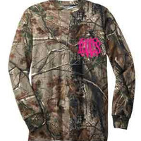 Long Sleeve Camo Monogrammed Shirt with Pocket