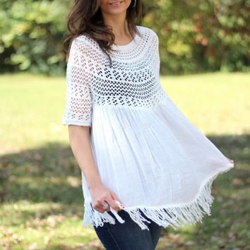 Selfie Couture by Trendology Off White Crochet and Fringe Top