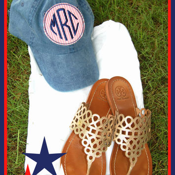 Monogrammed Navy garment dyed Seersucker Patch Hat- RED WHITE BLUE 4th of July