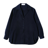 Long Sleeve Notched Collar Shirt (Navy) | STYLENANDA