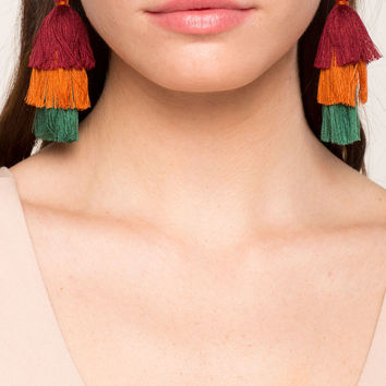 Jewel Love Tassel Block Drop Earring