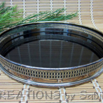 WA Silver Rim Tray Black, Silver Plate, Plated, Made in Italy, Bar Accessories, Vintage