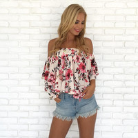 Floral Skies Off Shoulder Top