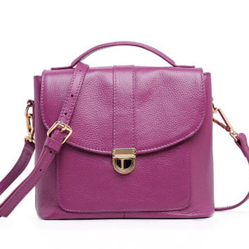 Purple Leather Messenger. Preppy Style Small Leather Handbag. Genuine Leather MADE-TO-ORDER