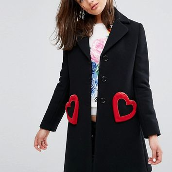 Love Moschino Heart Pocket Wool Mix Tailored Coat at asos.com