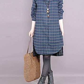 Stylish Plaid Loose All-match Long Sleeved Cotton Casual Dress