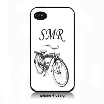 Retro Bicycle Monogram  Iphone 4/4s cell phone accessory case, Iphone case, Iphone 4s case, Iphone 4 cover, i phone case, i phone 4s case