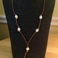 Leather And Freshwater Pearls Necklace With Brown Leather And Freshwater Pearl Tassel