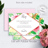Destination Wedding RSVP Insert Cards, Wedding RSVP Card, RSVP Template, Printable Wedding Cards, Floral Wedding, Tropical Flowers