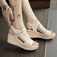 WZV 2017 Sweet Ladies wedge Sandals Candy color Comfortable Flat Women Shoes Summer Style Soft Leather Leisure women Sandals