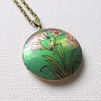 White Lily Locket Floral Flowers Lillies Necklace Green Locket Nature Jewelry Long Chain Locket
