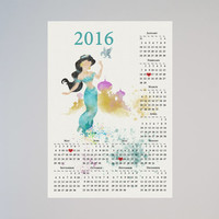 Disney Personalized Calendar 2016 Princess Jasmine Watercolor Picture Print Save the date gift Christmas New Year Birthday present Aladdin