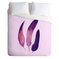 Terry Fan Purple Feathers Duvet Cover