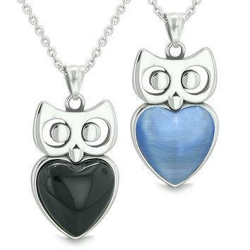 Amulets Owl Cute Hearts Love Couples or Best Friends Set Faux Onyx Star Blue Cats Eye Necklaces