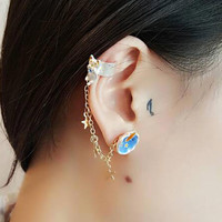 Golden Star And Cat Shape Chain Ear Cuff