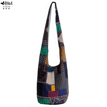 National Bohemian Women Shoulder Bag Handbag Bucket Hippie Bag Crossbody Bag free shipping