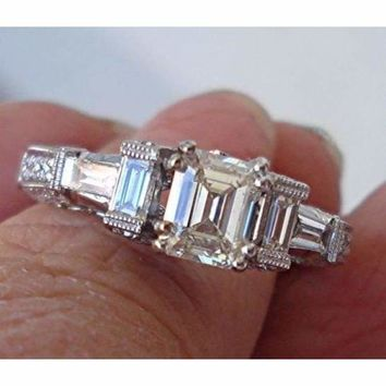 Luxinelle GIA Emerald Cut Diamond Engagement Ring - 18K White Gold 1.71 cttw by Luxinelle®Jewelry