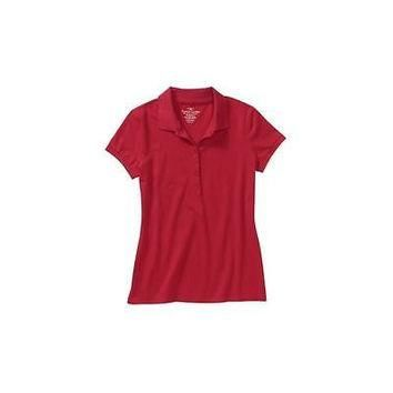 Faded Glory Women's Knit Polo Shirt, Red, 1X