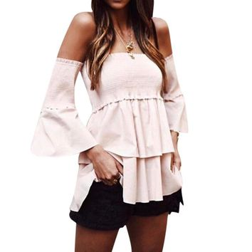 Summer Blouses Shirts Women Sexy Off Shoulder Tops Chiffon Blouse Flare Sleeve Beach Shirts Blusas WS250E