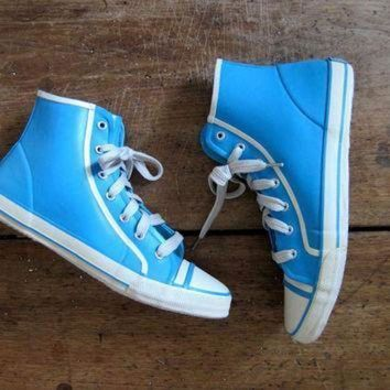 DCCK1IN 80s blue rubber rain boots 90s esprit converse duck boots high top rubber sneakers lac
