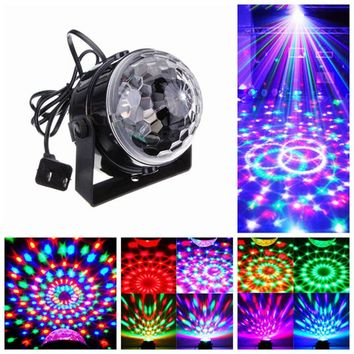 MINI Voice Control RGB LED Stage Lamps Crystal Magic Ball Sound Control Laser Stage Effect Light Home Party Disco Club DJ Lights