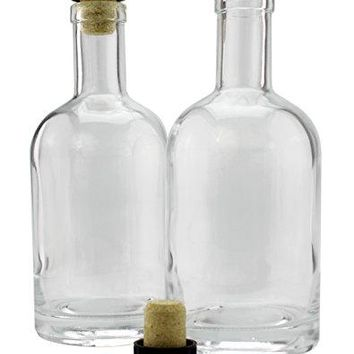 12Ounce Liquor Bottles 2Pack Clear Glass Bottles wTTop Synthetic Corks