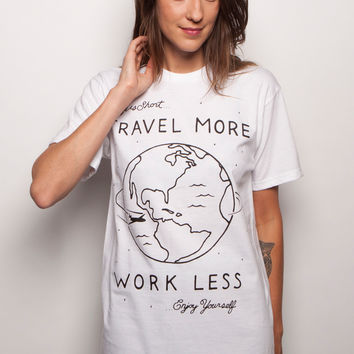 Travel More Hand Drawn Unisex T-shirt White