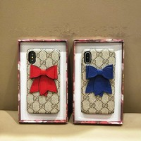 """Gucci"" Temperament Retro GG Bow iPhoneX/8/6S Hard Phone Case Apple iPhone 7 Plus Women Leather Phone Shell"