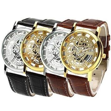 Men's Women's Fashion  Roman Numeral Dial Leather Band Skeleton Analog Sport Casual Wrist Watch [9305805127]