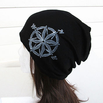 Unisex Oversized Beanie Hat-Black-Baggy Hat- Head Wrap- Slouch Cap-Hippie Hat-Compass.