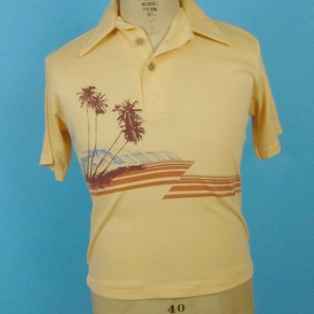 1970s California Surfer Brand Polo Shirt Medium Surfing Print Wood Buttons