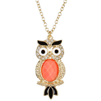Owl Large Gem Body Pendant Necklace